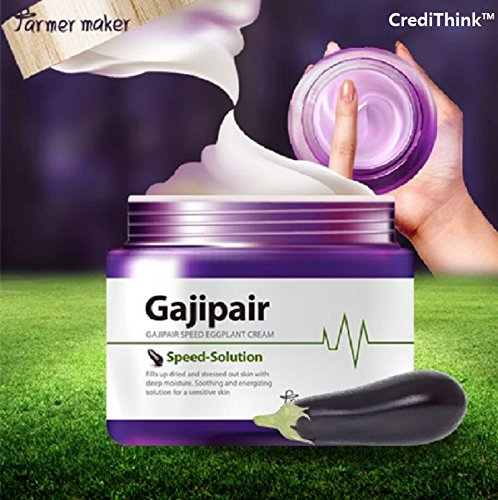 (Farmermaker Gajipair Speed Eggplant Organic Face Cream 70ml, 2.36 fl. oz. for Face. Soothing, Moisturizing, Calming, and Repairing for Sensitive Skin)