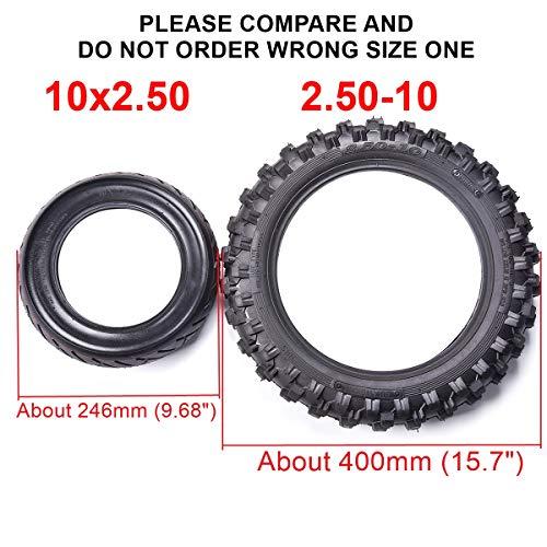 2.50x10'' Knobby Tyre 2.5-10 Front + Rear Tire w/ TR87 Inner Tube for Mini Dirt Bike XR50 CRF50 PW50 SDG107 KTM 50SX Morini Razor SX500 by Wingsmoto (Image #2)
