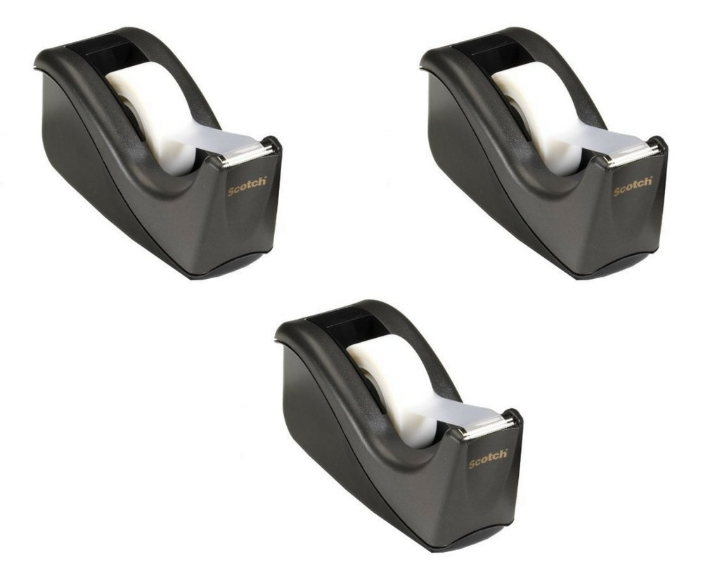 Scotch Value Desktop Tape Dispenser, 1 Inch Core, Two Tone Black (C60-BK) (Pack of 3)