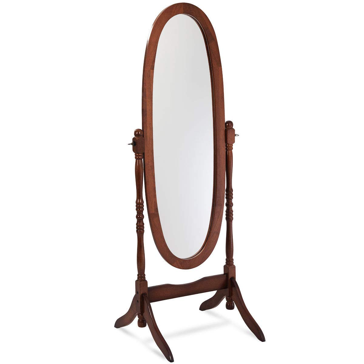 Brown Swivel Full Length Ovel Floor Mirror Wooden Cheval Free Standing Dressing