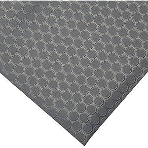 Rubber-Cal Coin-Grip Flooring and Rolling Mat, Dark Grey, 2mm x 4 x 8-Feet