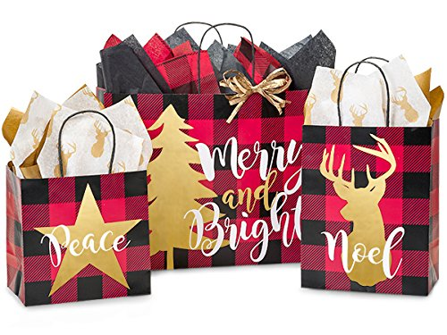 Buffalo Plaid Christmas Assortment 125 Paper Bags (Unit Pack - 125) by Better crafts