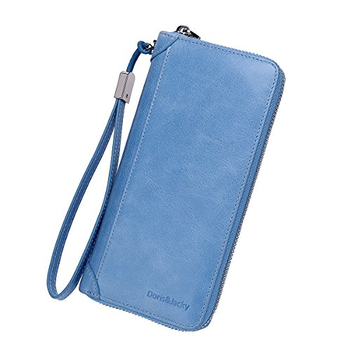 Women Leather Wallet Rfid Blocking Large Capacity Zipper Around Travel Wristlet Bags (Sky Blue) - Patent Leather Passport Cover