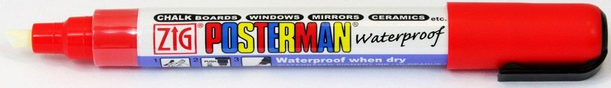 Zig Kuretake Posterman Red Broad (6mm) Nib Tip Liquid Chalk Marker Pens Waterproof Blackboard Whiteboard Outdoor Glass Metal Plastic Wood Paper Illumi Board (Pack of 1) Kuretake UK Ltd.