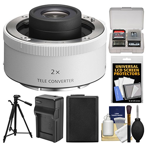 Price comparison product image Sony FE E-Mount 2.0X Teleconverter Lens with NP-FW50 Battery + Charger + Tripod + Kit for Alpha Cameras