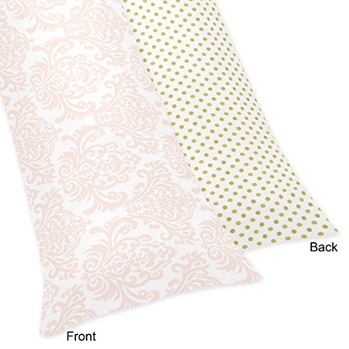 Sweet Jojo Designs Blush Pink White Damask and Gold Polka Dot Amelia Collection Full Length Double Zippered Body Pillow Case Cover]()