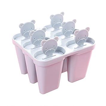 Compra BESTONZON Conjunto de moldes para paletas de hielo - Molde para paletas de hielo de plástico de 6 cavidades Moldes para paletas reutilizables de ...