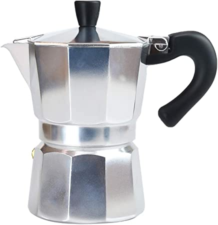 AILELAN Cafetera de espresso para estufa, 3 tazas, estilo italiano clásico, hace delicioso café, fácil de operar y olla de limpieza rápida