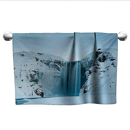 alisoso Waterfall,Hair Towels for BoysFrozen Waterfall Heavenly Landscape View with Mountains Covered with Snow Art Bath Towels for Kids Petrol Blue W 10