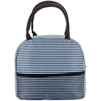 XLStore Stripe Lunch Bag Thermal Canvas Food Container Tote Handbag (Various Colors)
