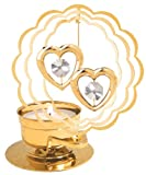 Twin Hearts in Scallop Circle Tea-Light..... With Clear Swarovski Austrian Crystal