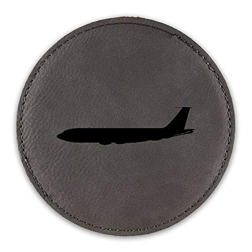 (KC-135 Stratotanker Drink Coaster Leatherette Round Coasters KC 135 aerial refuelling USAF - Grey - Set of Six Round Coasters)