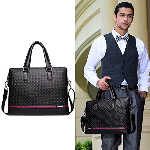 Genuine b1 3064 Jn Black Tote Leather Shoulder 2018 Men's Bag Diagonal Business Embossed Computer tUT5Aqw5