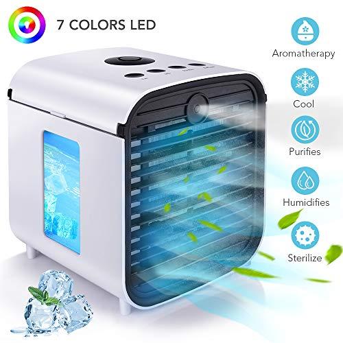🥇 Hisome Aire Acondicionado Mini Enfriador Portátil 5 en 1 USB Air Cooler Purificador Humidificador Aromaterapia Luz Nocturna Ventilador Leakproof 7 Colores Luces 3 Velocidades