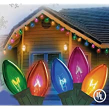 NorthLight Transparent Multi-Color C7 Christmas Lights - Green Wire, Set Of 25