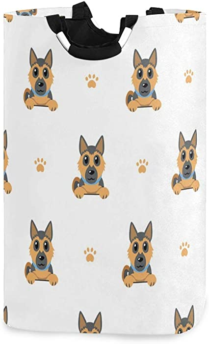 RunningBear Laundry Basket Washing Clothes Hamper - German Shepherd Dog Collapsible Laundry Hamper Large Capacity Laundry Bag for Bathroom, Clothing Organization