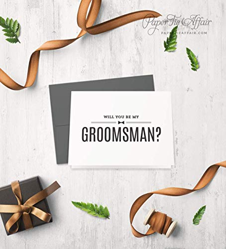 Will You Be My Groomsman Card - Be My Best Man, Ring Bearer, Usher, Officiant Cards - Groomsmen Box Proposal Ideas, Custom Choices, Select Your Quantity Bow Tie Ring Box