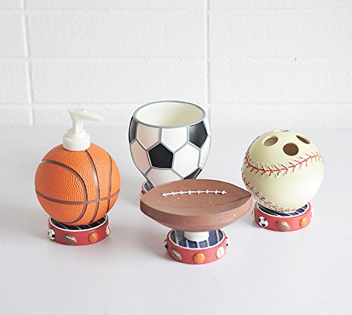 Beau Brandream Cute Sports Basketball Bathroom Accessories Cartoon Resin Bathroom  Set,4Pcs
