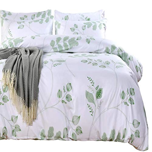SexyTown Botanical Duvet Cover Set with Zipper Closure Green Leaves Duvet Cover and Pillowcase Set Green Tree Leaves Pattern Printed on White Comforter Cover Quilt Cover King (FH D, King)