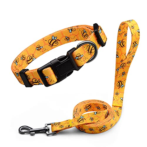 Anbeer Dog Collar and Leash Set for Small Medium and Large Dogs, Adjustable Pet Collars with 5 ft Lead (Yellow Bee-L)