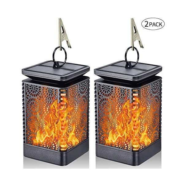 Set of 2 Solar Powered Flame Flickering Effect Lights Garden Outdoor Auto On//Off