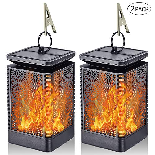 Solar Lantern Lights Dancing Flame Waterproof Outdoor Hanging Lantern Solar Powered Umbrella LED Night Lights Dusk to Dawn Auto On/Off Landscape Decorative for Garden Patio Deck Yard Path 2 Pack (Solar Lights On Clip Powered)