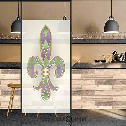 3D Decorative Privacy Window Films,Gold Colored Lily Symbol with Diamond Shapes Royalty Theme Ancient Art,No-Glue Self Static Cling Glass Film for Home Bedroom Bathroom Kitchen Office 24x48 Inch