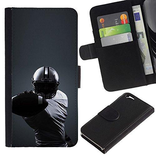 Funny Phone Case // Cuir Portefeuille Housse de protection Étui Leather Wallet Protective Case pour Apple Iphone 6 /Minimaliste Joueur de Football/