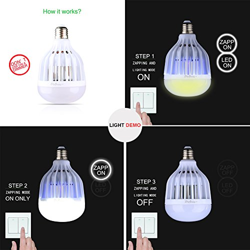 LED Bug Zapper Light Bulb, Mosquito Killer For Outdoor Porch Patio Back  Yard Indoor House Rooms Garage Kitchen Barn,UV Lamp Trap And 600V Electric  Grid Zap ...