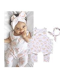 Newborn Kids Baby Girl Bodysuit+Headband Cotton Jumpsuit Romper Outfits Clothes