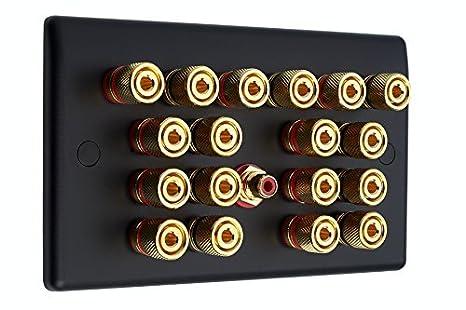 9.1 NEGRO MATE Slimline Audio / AV Sonido Envolvente Altavoz PLACA DE PARED CON ORO Bornes + 1 RCA SOLDADOR: Amazon.es: Electrónica