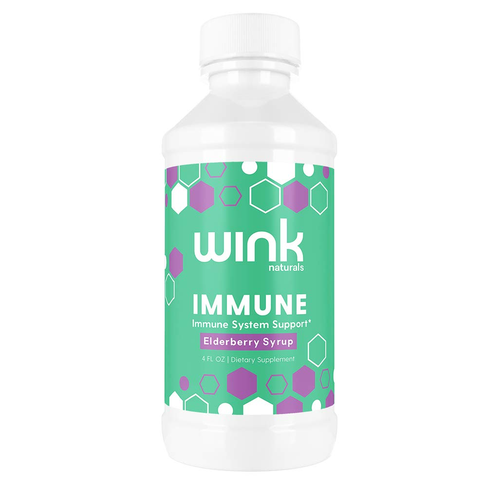 Wink Naturals Immune Elderberry Syrup, 4 fl. oz. Natural, Fresh-Pressed Elderberry Extract, Alcohol and Drug-Free Blend, Immune System Support