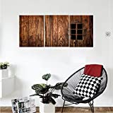 Liguo88 Custom canvas Medieval Decor Collection Historic Medieval Window Secured with Iron Bars Castle Old Building Picture Bedroom Living Room Wall Hanging Dark Brown