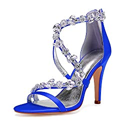 Open Toe Zipper Back Strap High Heel Royal Blue Sandals