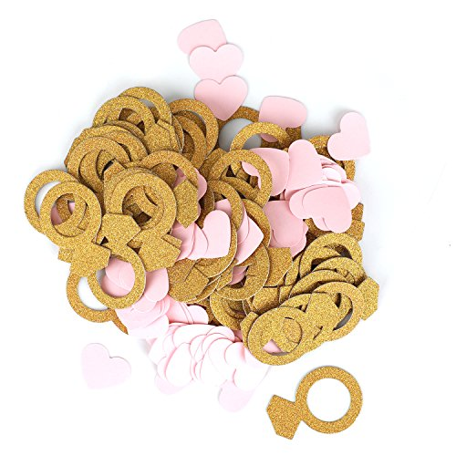 200pcs of Double- Side Gold Glitter Ring Confetti and Pink Heart Confetti for Wedding, Bridal Shower, Bachelorette Decor & Engagement Ring Confetti ()