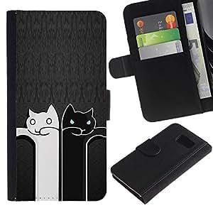 All Phone Most Case / Oferta Especial Cáscara Funda de cuero Monedero Cubierta de proteccion Caso / Wallet Case for Samsung Galaxy S6 // Black And White Cat Grey Minimalist Cute