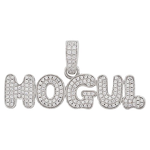 Men's Rhodium-Plated Sterling Silver Round Cut Cubic Zirconia Mogul Text Pendant, 0.90