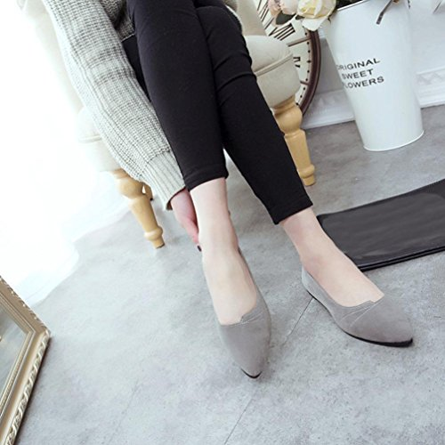 Transer Ladies Leisure Flats Shoes, Women Slip On Casual Non-Slip Work Loafers,Comfortable Leather Lazy Shoes Grey