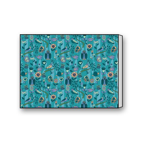 Blue Green Background Simple Flower Bird Painting Owl Sunflower Snails Decorative Painting Wood Printmaking