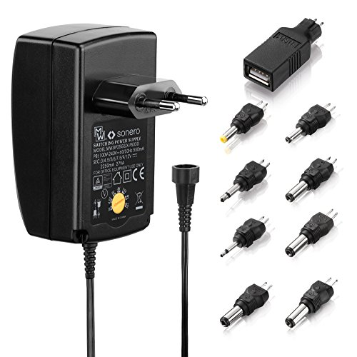 Sonero X-PS030 Universal Stecker Netzteil (3V-12V Drehschalter) mit 9 Adaptern inkl. USB 2250mA schwarz