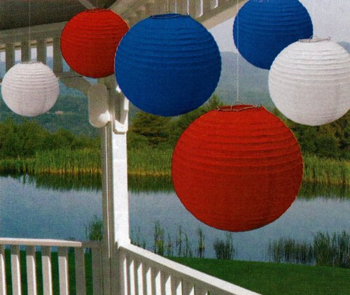 Amscan Fourth of July Party Round Lantern Hanging Decoration (6 Piece), Red/White/Blue