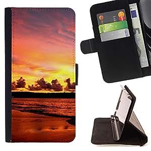 For HTC One M7,S-type Puesta de sol Mar Beautiful Nature 17- Dibujo PU billetera de cuero Funda Case Caso de la piel de la bolsa protectora