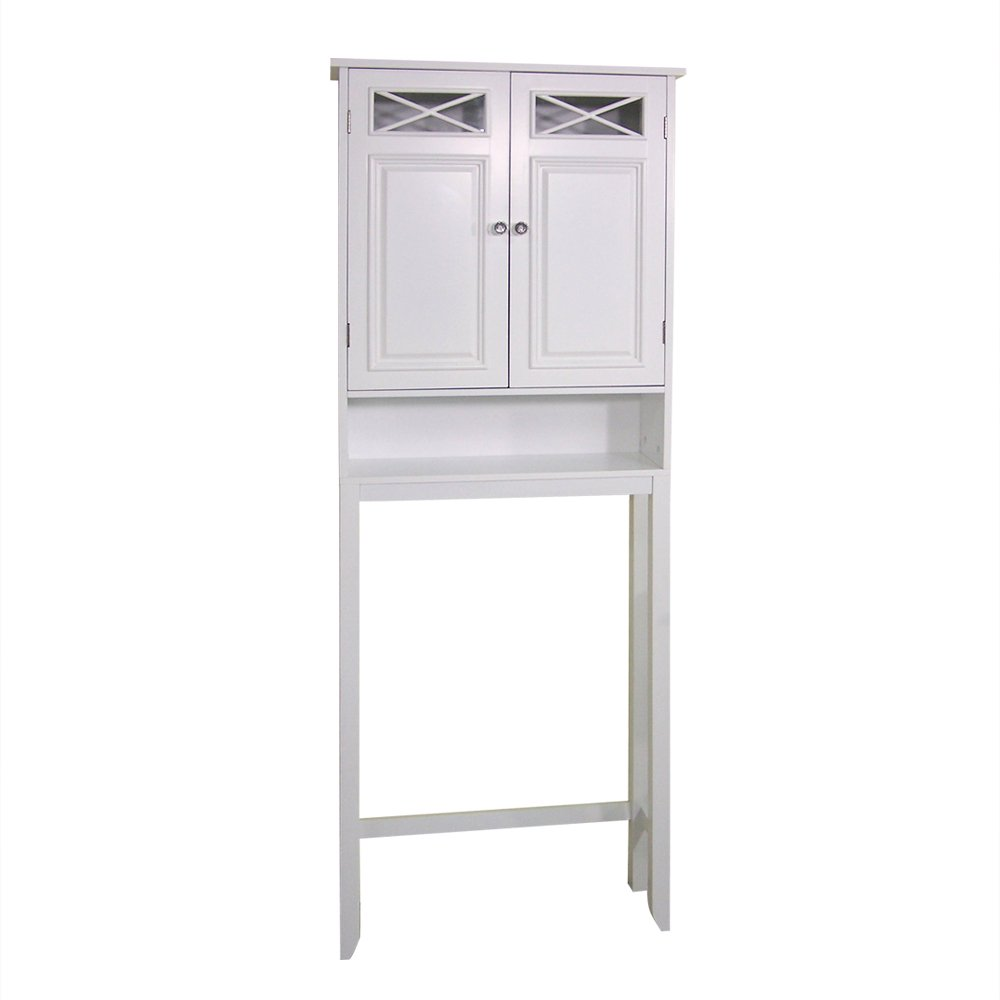 Amazon.com: Elegant Home Fashions Dawson Collection Shelved Bathroom  Space Saver With Storage Cubby, White: Kitchen U0026 Dining