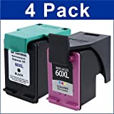 4 Pack Remanufactured Ink Cartridge Replacement for HP 60XL (CC641W / CC644WN) (2 Black / 2 Color), Office Central