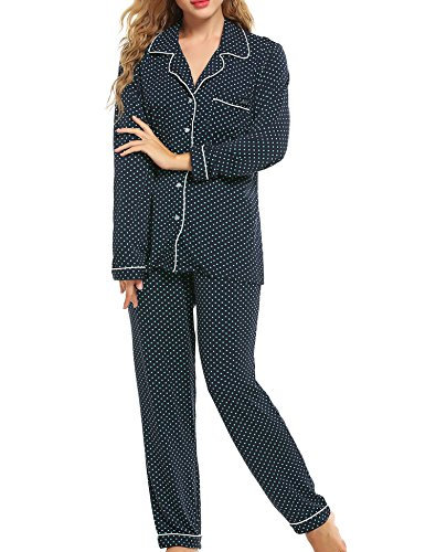 - Ekouaer Soft Sleepwear Womens Longs Sleeve Pajama Sets,Drak Blue With Green Dots,Large