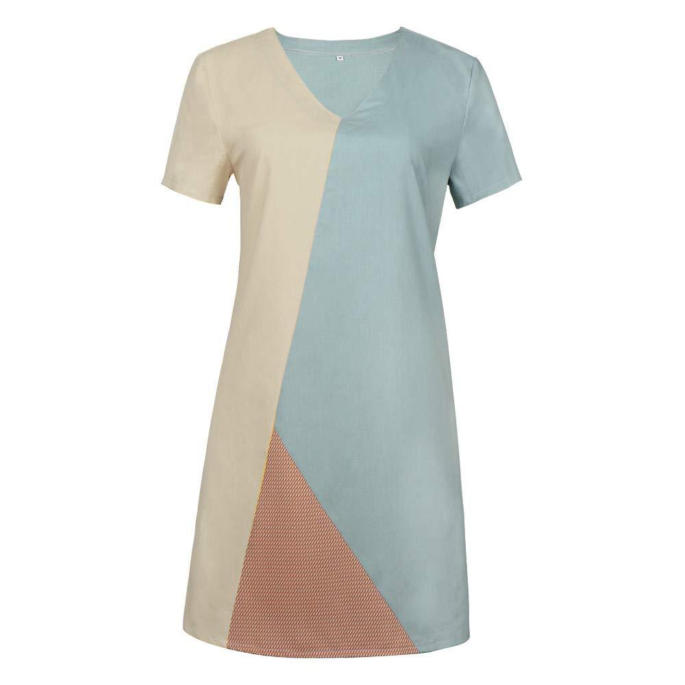 Womens Summer Party Dress Women Color-Block Short Sleeve Loose V-Neck Vintage Midi Dresses