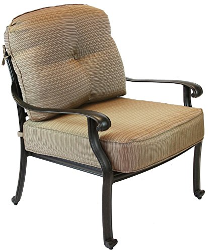 - Nassau Outdoor Patio Club Chair Dark Bronze Cast Aluminum Set of 2, Walnut Cushions