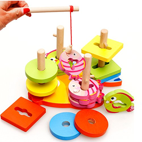 HaloVa Wooden Fishing Game, Magnet Colors Recognition Shapes Sorter Geometic Puzzles Block Toys Gifts for Kids Education