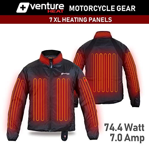 Deluxe Protective Gear 75 Watt 7 Heating Zones Venture Heat 12V Motorcycle Heated Jacket Liner with Wireless Remote