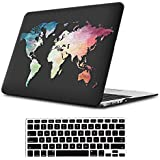 iLeadon MacBook Air 11 inch Protective Hard Case Soft Touch Ultra Thin Shell Cover+Keyboard Cover for MacBook Air 11 inch Model A1370/A1465 (MacBook Air 11 Inch, Black Map)